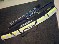 Atomic e5 168cm skis with bindings , poles and carry bag.