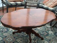 Pedestal Coffee table, Laquered wood with inlay design