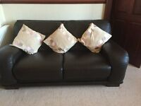 Used Dark Brown Leather 3 seater couch