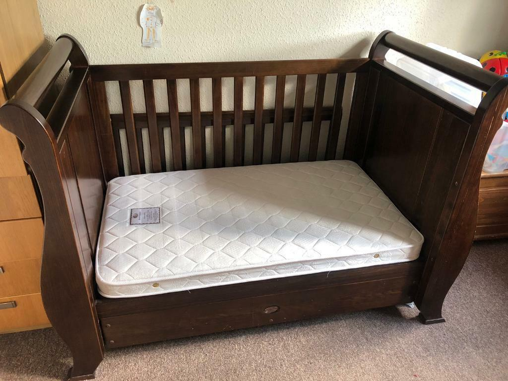 quality design 770a3 5d08b Boori Country Collection Sleigh 3 in 1 English Oak Cotbed, mattress, under  bed storage draw | in Surrey | Gumtree