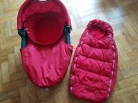 Quinny red carrycot and matching cosy toes