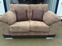 Nutmeg cord and brown faux leather 2 seater sofa New ex display -