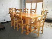 6FT SOLID PINE REFECTORY FARMHOUSE STYLE DINING TABLE WITH SIX DINING CHAIRS FREE DELIVERY