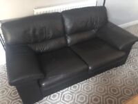 Dark brown leather sofa and chair (Free)
