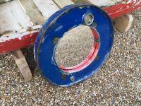 Industrial Round Metal Mirror in Blue