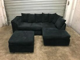 FREE DELIVERY MIDNIGHT BLUE CORD FABRIC L-SHAPED CORNER SOFA & STOOL GOOD CONDITION