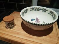 Portmeirion Botanic Garden serving bowl and matching sugar jar