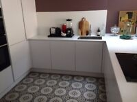Cement encaustic floor tiles, hand-made