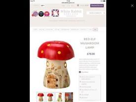 Red Elf Mushroom Lamp by White Rabbit England