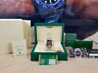 Rolex Daytona Silver Gold Strap Black Face - Complete Set Box And Papers 1 Year Free Warranty