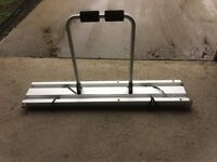 Motorhome garage bike rack , 2 bikes , fits inside garage and slides out for easy clamping of bikes