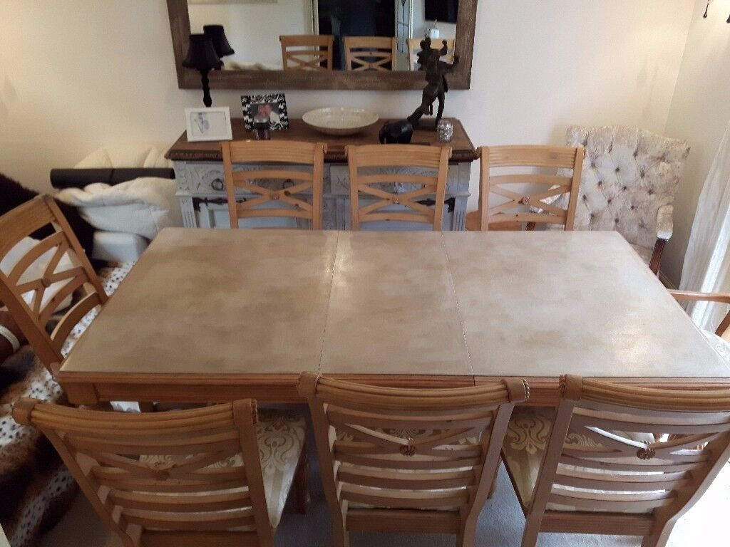 Large Dining Table with 8 chairs (inc. 2 Carvers)