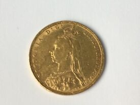Queen Victoria Gold Sovereign Coin 1891 excellent condition