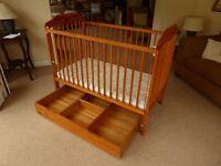 Solid Pine Cot & 'Mamas & Paps' Pine underbed storage unit & John Lewis Mattress