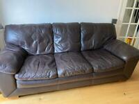 3 seater and 2 seater brown leather sofas.