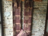 2 Pairs of Heavy Red & Gold Curtains