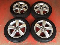 16'' GENUINE VW JETTA ALLOY WHEELS AND TYRES 5 SPOKE GOLF MK5 MK6 MK7 CADDY PASSAT