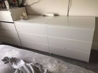 2X white chest of draws from Ikea