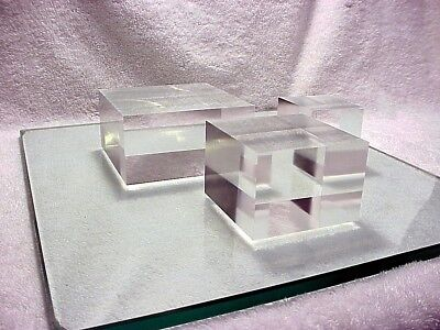 Thick Clear Acrylic Plexiglass Lucite Block Display Riser Set Of 3 Sizes 74