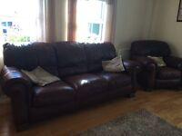 Natuzzi 311 italian brown leather suite
