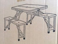 PORTABLE FOLDING PICNIC TABLE with STOOLS (from Argos). New in Box.