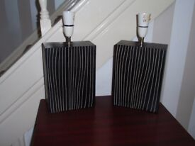 2 Dark Brown striped Lamp bases