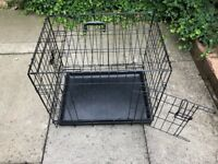 DOG CRATE SUITABLE FOR A SMALL DOG (HARDLY USED) & DOGGY STAIRGATE/BARRIER