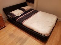 Stylish Black Faux Leather and Wooden Bed Frame (Double)