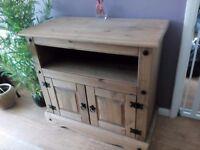 Pine TV/media stand. Light oak colour. 85cms(w)79cms(h)43cms(d)