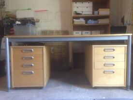 Office desk in beech with two under-desk cabinets