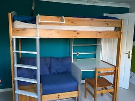 Stompa High Sleeper bed with desk and sofa