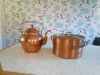 Vintage copper kettle and pot