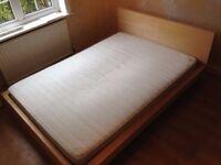 Ikea Malm beech veneer double bed with Ikea Sultan Hagavik mattress