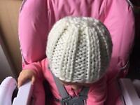 Chunky newborn baby hat vegan friendly hand knitted