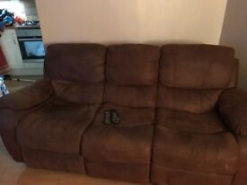 3 seater & 2 seater sofa in brown faux leather