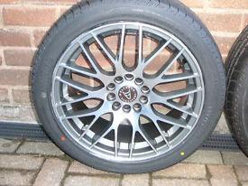 "Brand New WOLFRACE ALLOY WHEELS 215 45 17 TYRES c4 c5 c6 x s type XJ 17"" INCH 5x108 alloys wheel"