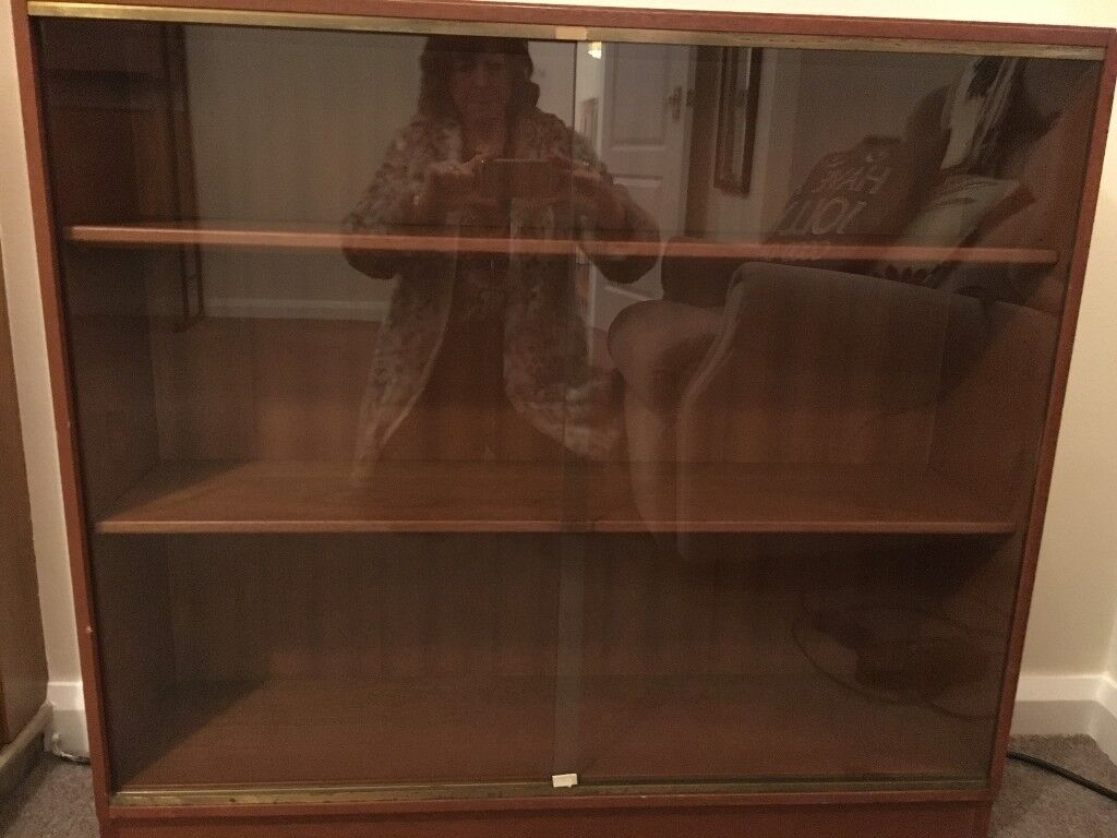 Retro Style Teak Display Cabinet Or Bookcase With Sliding Glass