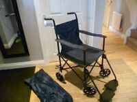 Super light weight compact fold travel wheelchair for adults, with bag
