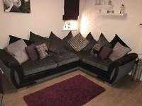 1 year DFS set- Darcey corner sofa, arm chair and pouffe