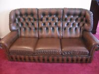 Handmade Vintage Antique Tan Leather Chesterfield Suite