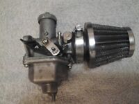 Pit bike/quad 125-200cc pz27 carburettor and air filter.