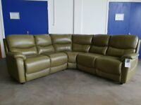 BRAND NEW STILL WITH TAGS FABB SOFAS BUZZ GREEN LEATHER CORNER SOFA DELIVERY AVAILABLE