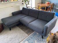 Navy Lshaped mid century style sofa 3seater