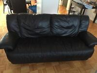 Black leather couch set