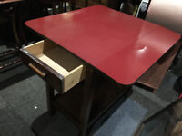Chic Vintage Retro Red Formica Drop Leaf Table with Cutlery Drawer & Lower Shelf