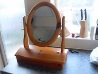 PINE MAKE UP MIRROR IS BRAND NEW WITH COMPARTMENT FOR MAKE UP CAN DELIVER LOCALLY