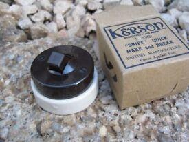 Vintage kerson snipe no 5 brown Bakelite & white Ceramic Toggle Light Switch 2-way