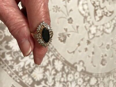 Vintage 14K Yellow Gold Blue Sapphire And Diamond Ring Size 8 1/2