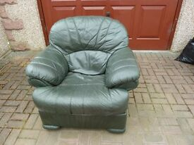 Green Leather Recliner Armchair