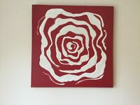Canvas wall art rose with Swarovski crystals